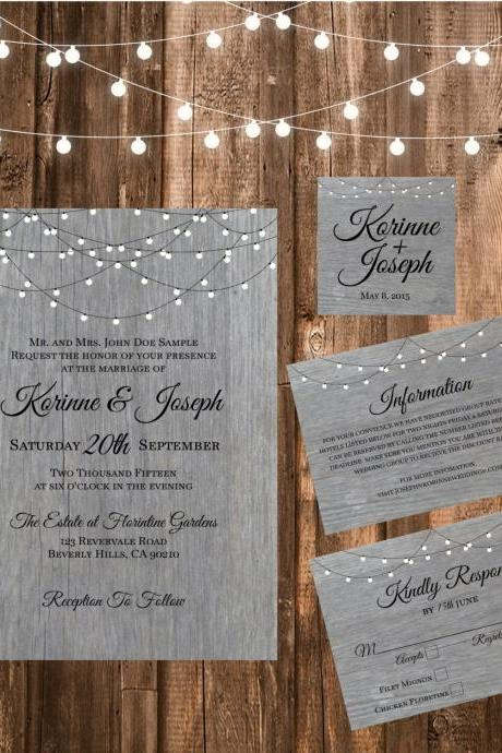 Grey Wood Wedding Invitation - Printable wedding invitation Set, Minimalist wedding, chalkbroad wedding invitation