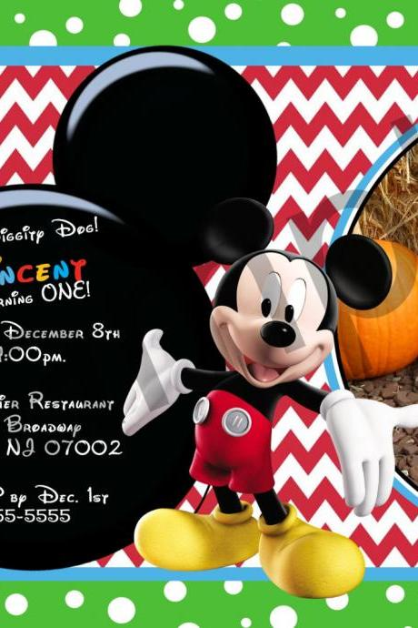 Mickey Mouse Photo Birthday Invitation (Digital File)