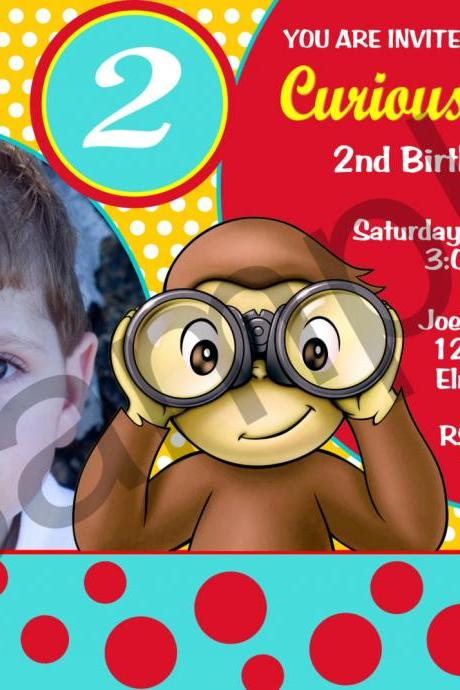 Curious George Photo Birthday Invitation (Digital File)