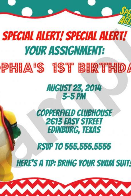 Agent Oso Birthday Invitation (Digital File)