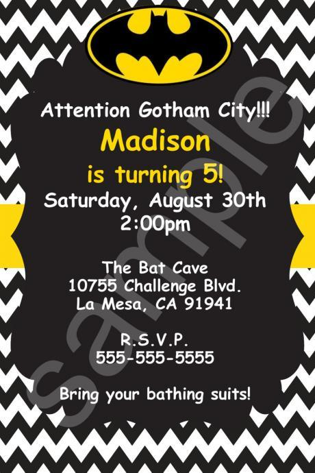 Batman Chevron Birthday Invitation (Digital File)