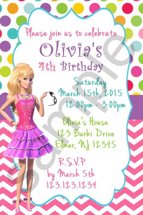 Barbi Birthday Invitation (Digital File)