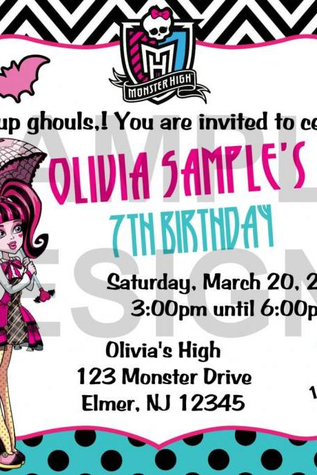 Monster High with or without Photo Birthday Invitation (Digital File)
