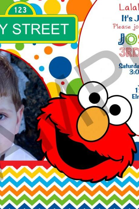 Elmo Photo Birthday Invitation (Digital File)