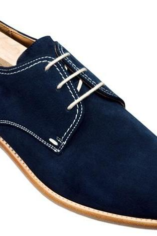 HANDMADE MEN DERBY BLUE SUEDE LEATHER SHOES, MEN STYLISH SUEDE CASUAL SHOES