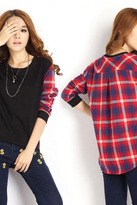 Plaid Long Sleeve Loose T-Shirt Blouse