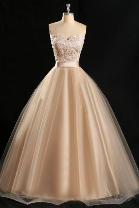 Elegant sweetheart appliques lace champagne Prom Dress 2015, party Dress,evening dress 2015