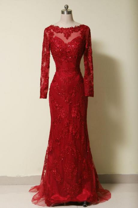 Elegant long sleeves red lace mermaid Prom Dress 2015, party Dress,evening dress 2015