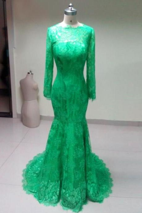 High Neck Elegant long sleeves green lace mermaid Prom Dress 2015, party Dress,evening dress 2015