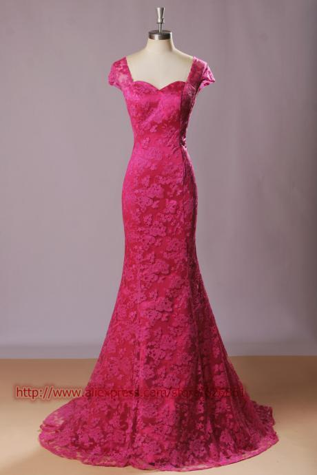 Cap Sleeves Mermaid Hot Pink Elegant lace backless Prom Dress 2015, party Dress,evening dress 2015