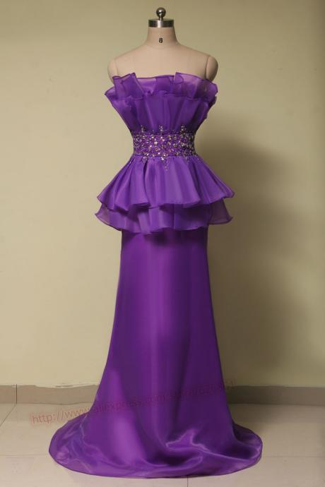 elegant mermaid purple prom dress 2015.long evening dress women party dress