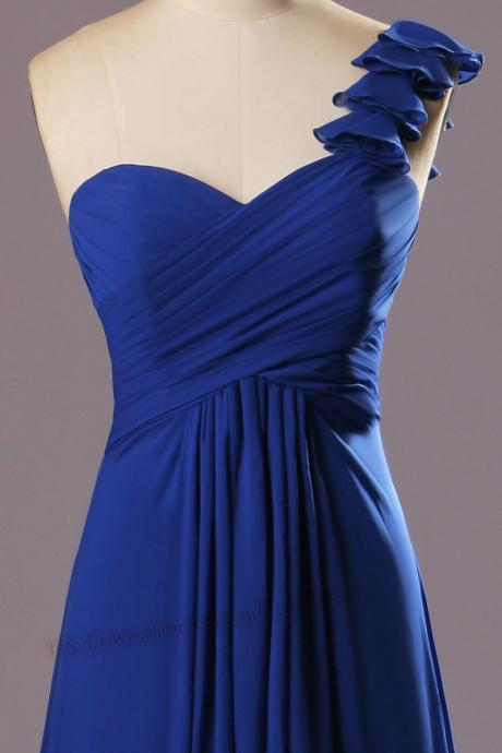 One shoulder sweetheart royal blue long chiffon prom dress 2015.long evening dress women party dress