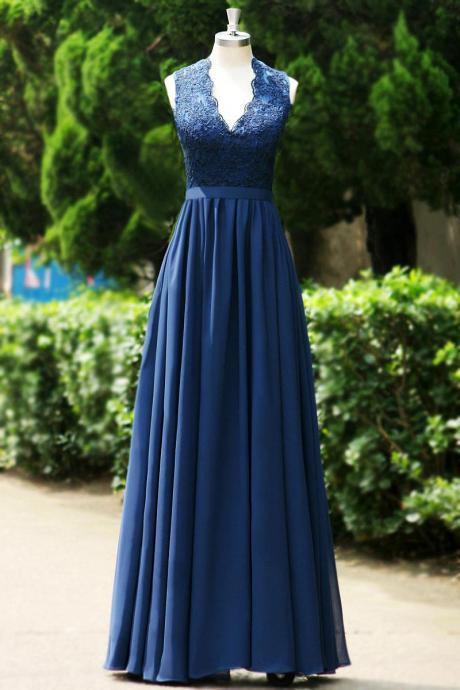V-Neckline Appliques Beaded Lace Navy blue long chiffon prom dress 2015.long evening dress women party dress