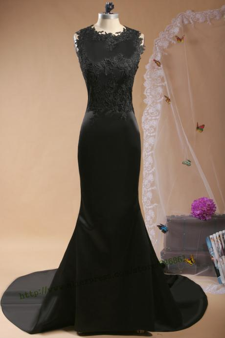 mermaid satin with appliques lace black backless long prom dress 2015.long evening dress women party dress