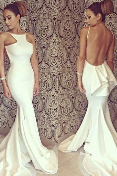 Backless Off-shoulder Fishtail Mermaid Wedding Long Maxi Dress