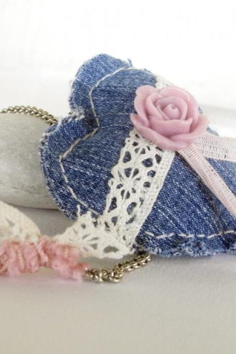 Romantic heart pendant Recycled denim