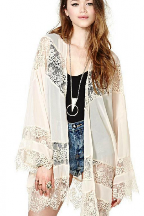 Openwork crochet lace stitching chiffon cape coat