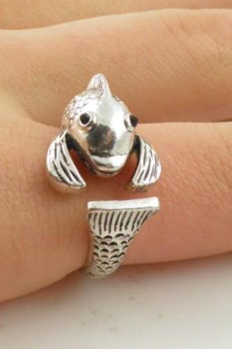 Silver Fish Wrap Ring