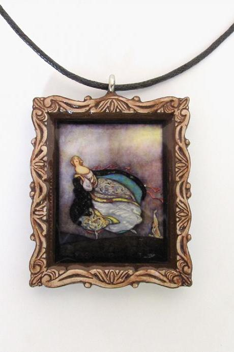 Cinderella Fairy Tale Pendant and Cord Necklace