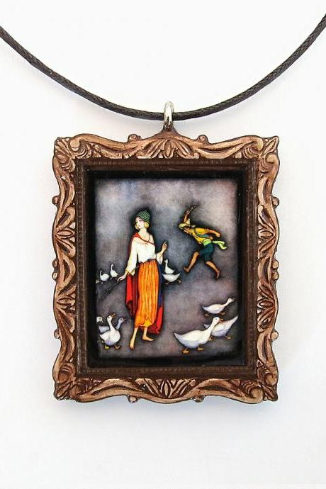 The Goose Girl Fairy Tale Pendant and Cord Necklace