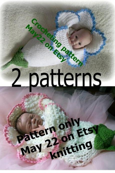 2 Two FLOWER cocoon PDF PATTERNS KNITTING and CROCHETING Original Rima Design Lily Amaryllis Bell baby Permission to sell finished product