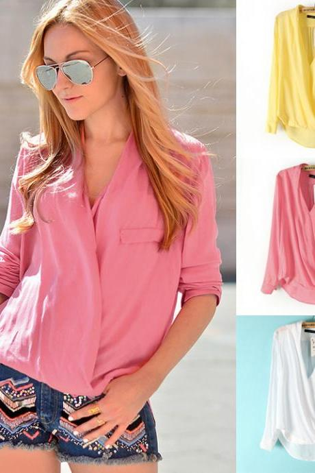 Fashion Trends Sexy New Summer Spring Autumn Women's Cross V Collar / V Neck Long Sleeve Shirt Leisure Ladies Blouse Loose Tops