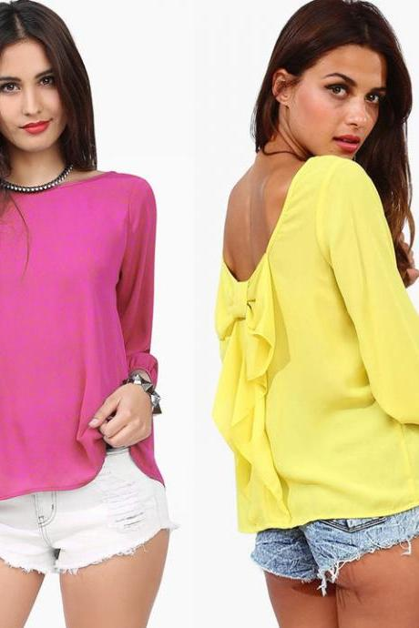 Women Cut Out Back Top T-Shirts Blouse With Tie Evening