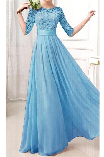 Charming Pierced Sleeve Zipper Closure Maxi Dress - Blue