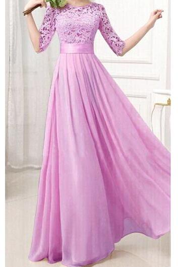 Charming Pierced Sleeve Zipper Closure Maxi Dress - Purple