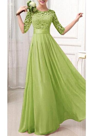 Charming Pierced Sleeve Zipper Closure Maxi Dress - Green