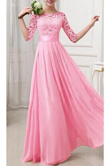 Charming Pierced Sleeve Zipper Closure Maxi Dress - Rose