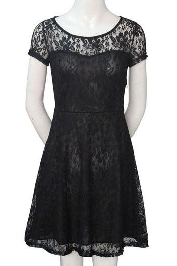 Short Sleeve Lace Skater Dress - Black