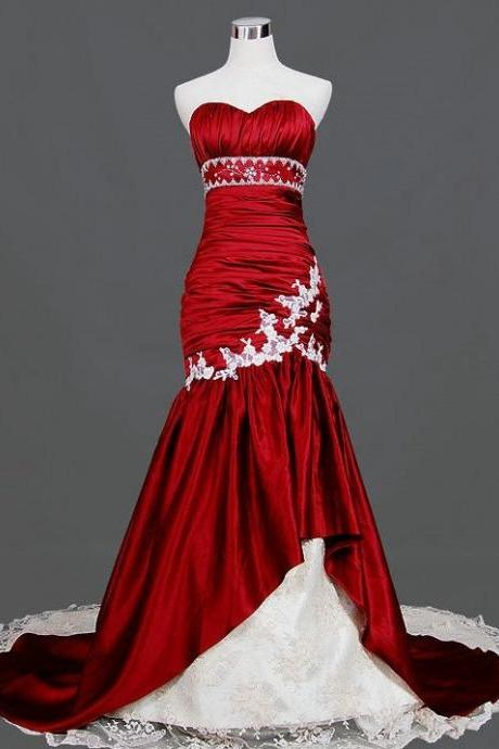 Handmade Taffeta Burgundy Prom Gown 2015, Elegant Wedding Dresses, Formal Gown, Evening Dresses
