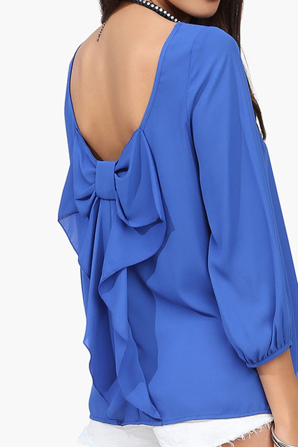 Europe And The Female Shirt Chiffon Loose Backless Chiffon Blouse