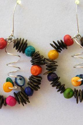 Earrings, Mayan Tribe Seed Hoops