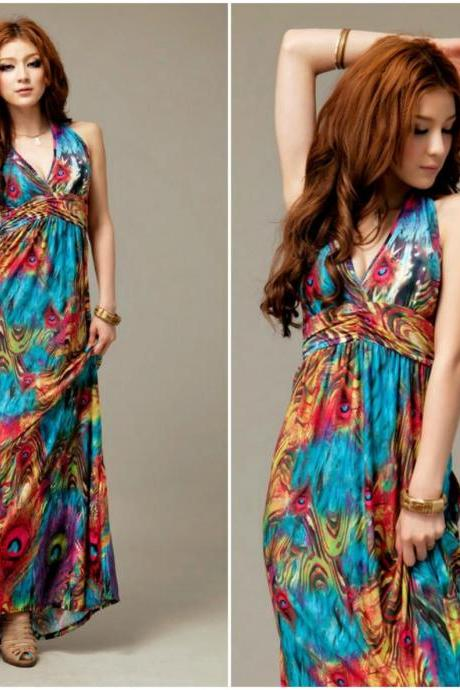 Gorgeous V Neck Peacock Print Maxi Dress