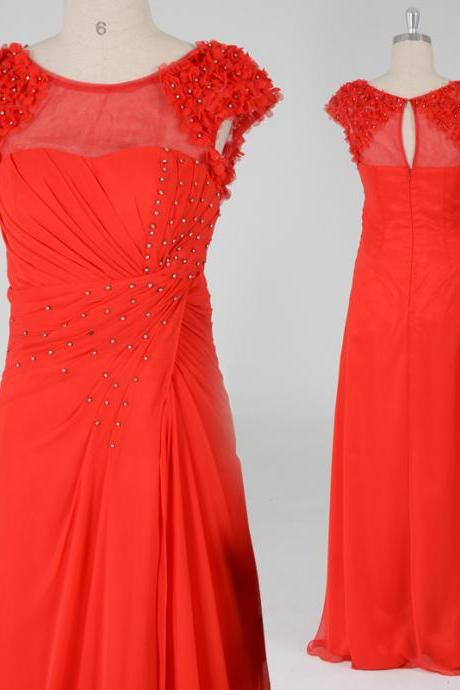 New Style Handmade Red Long Prom Dress with Beadings, Red Prom 2015, Evening Dresses, Red Formal Dresses,