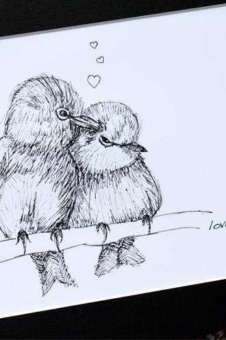 Original art illustrative print, Lovebirds (10' x 12')