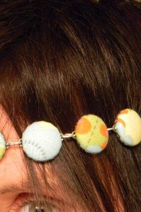 FREE SHIPPING - Fabric Button Multi Color Flowered Head Band/Necklace