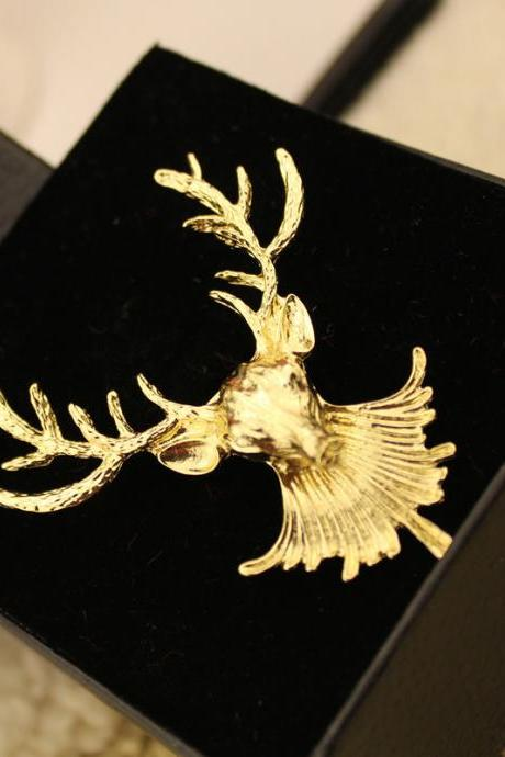 Punk Women's Fashion Retro Vintage Nostalgic Reindeer Gold Brooch Collar Brooch Best Jewelry as Gift for her