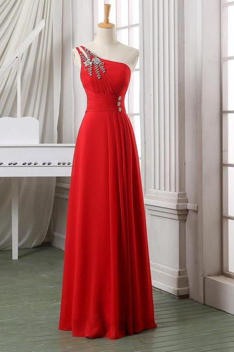 New Arrival 2014 Sexy Red Prom Dresses Chiffon Floor Length A-Line Evening Dresses Gowns for Party Formal Dresses