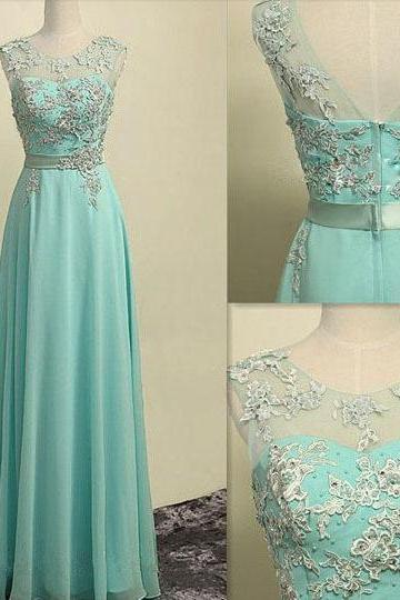 2015 Mint Green Chiffon illusion Formal Prom Dress With Lace Appliques