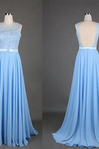 Light Blue Chiffon Sheer Back Evening Gown With Lace Appliques