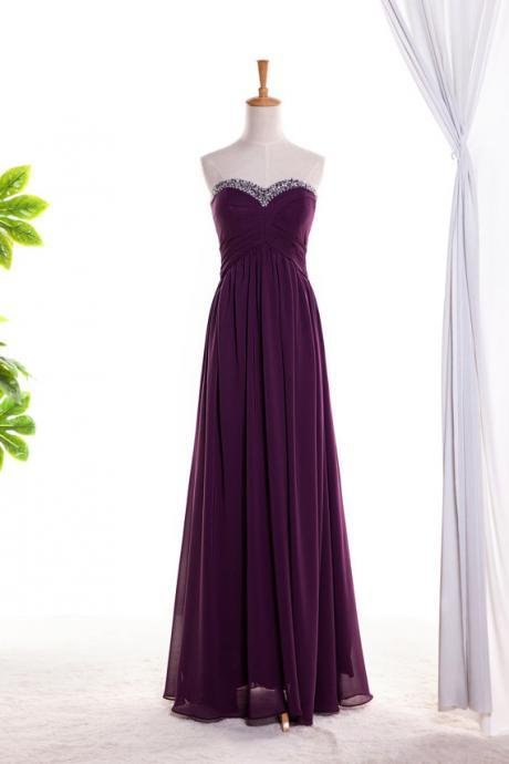 Plum Chiffon Strapless Floor Length Bridesmaid Dress With Beading