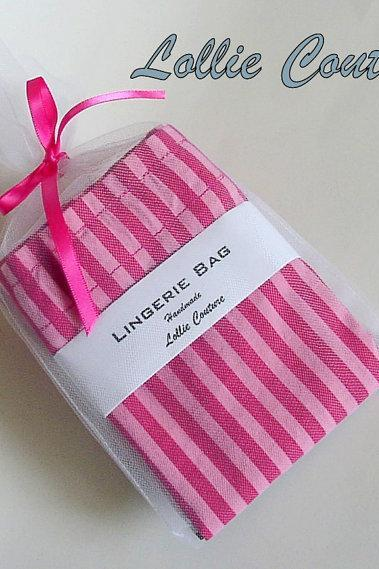 Lingerie Bag - Bridesmaid sets - Pink and hot pink - Travel Lingerie Bag