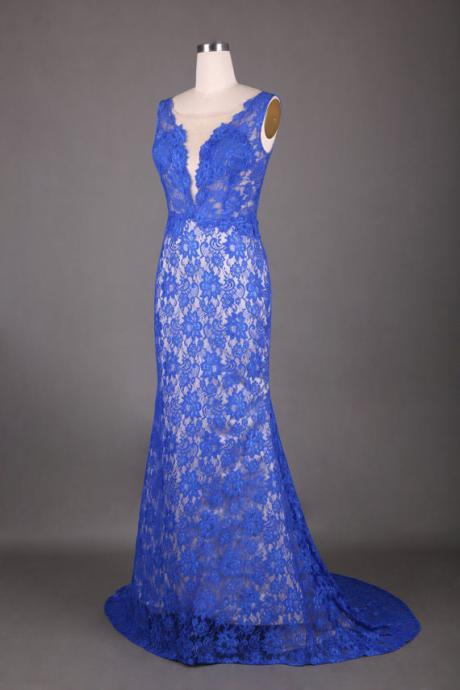 2015 Designer Blue Lace Formal Evening Gown With Open Back