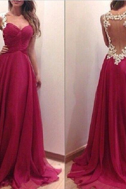 2015 Red Chiffon Draped Bodice Prom Dress With Sheer Back