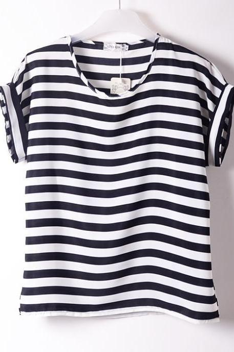 Black-White stripes sailor clothing summer Tee Girl Top