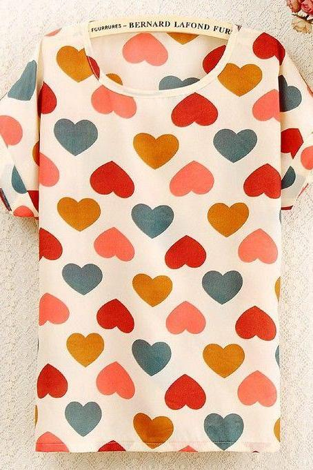 Colorful Hearts Print Love shirt summer Tee Girl Top