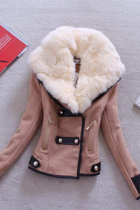 Fashion Long-Sleeved Turn Down Faux Fur Collar Wool Coat